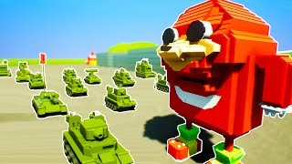 UGANDAN KNUCKLES NUKED BY RUSSIAN TANK LEGO SWARM - Brick Rigs Workshop Creations Gameplay