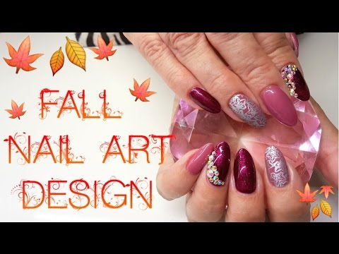 Acrylic Nails Autumn Fall Nail Design