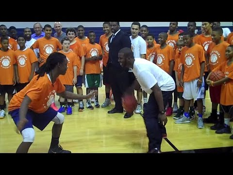 NBA Player Chris Paul goes one-on-one against a top 8th grader
