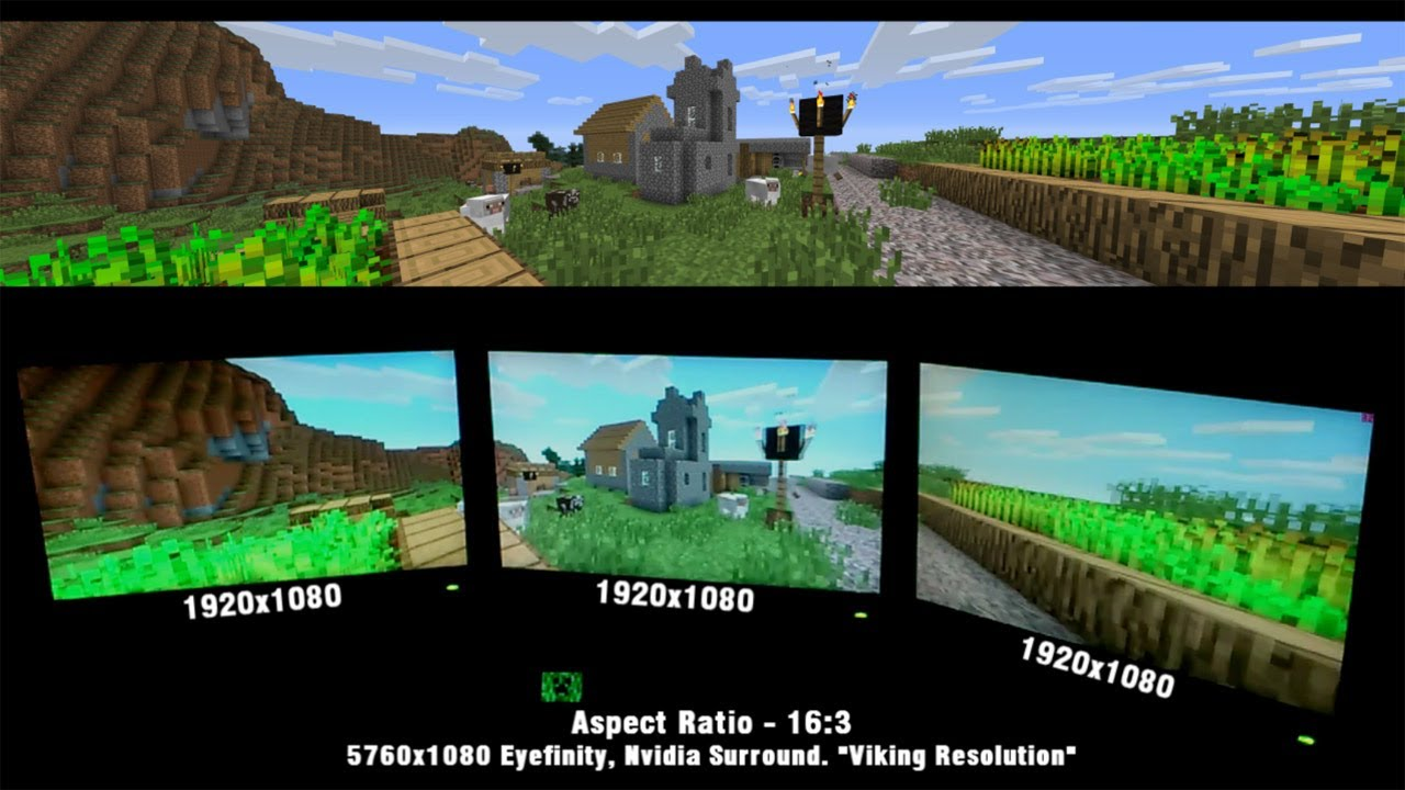 Minecraft Triple Monitor Showcase Amd Eyefinity