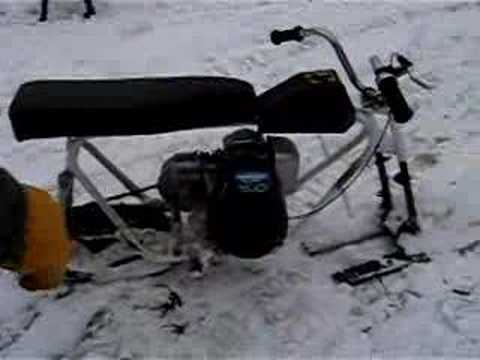 Homemade Snowmobile Test Prototype Mini Snowbike Youtube