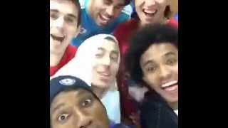 "Drogba, Oscar, Hazard, Filipe.Luis, Willian, Diego Costa Sing ""We Wish You A Merry Christmas"""