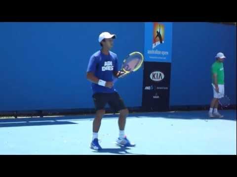 Yen-Hsun Lu Practice - Australian Open 2012