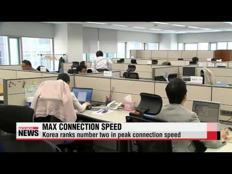 Korea ranks number two in peak Internet connection speed   한국, 인터넷 평균최대접속속도 2위…홍