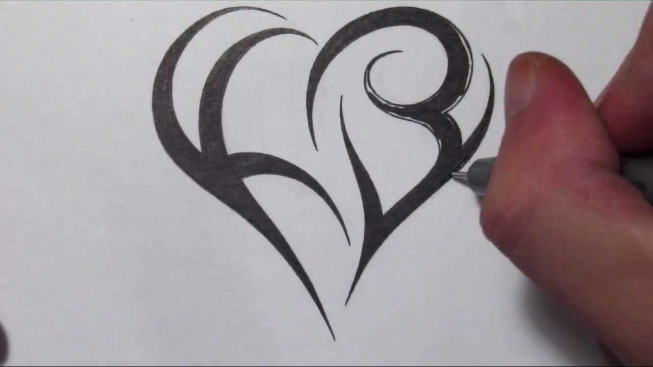 how to create a heart using letters tribal initials tattoo design youtube. Black Bedroom Furniture Sets. Home Design Ideas