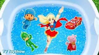 Learn Characters Peppa Pig, Lightning McQueen, Superman, Pj Masks in Pool For Kids Toys Fun