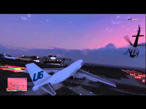 Самый большой самолет в GTAV.  Как украсть с военной базы и забраться в него.