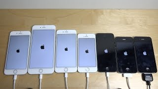 iPhone 6S vs. 6 Plus vs. 6 vs. 5S vs. 5 vs. 4S vs. 4 - Speed Test!