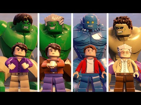 Hulk(Transformation),Stanlee,A-Bomb,Hulk(A AOU) - Lego Marvel's Avengers