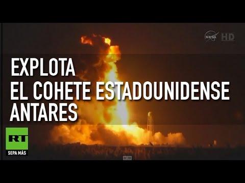 Despegue y explosión del cohete estadounidense Antares