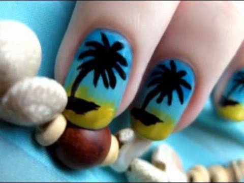 Palm Tree Nail Art - pálmafás körmök