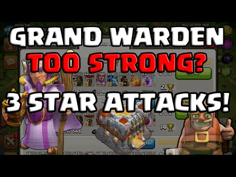 Clash of Clans   GRAND WARDEN TOO STRONG? 3 STAR ATTACKS   JORGE YAO