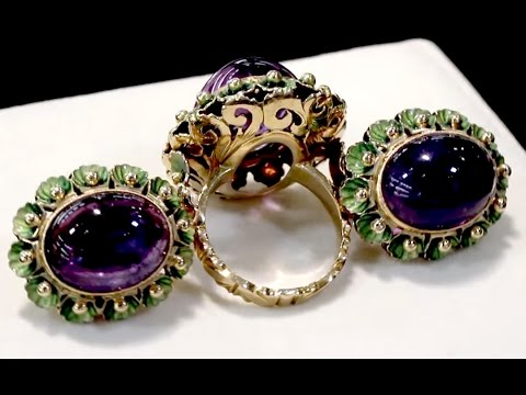 39.82 ct Amethyst, 18 ct Yellow Gold Jewellery Set - Antique Circa 1930 - AC Silver A5360