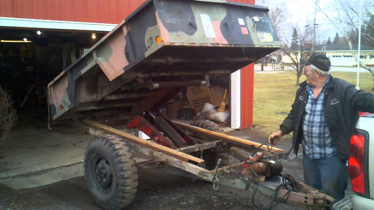 Load Trail Dump Trailer >> Army trailer turned into a dump trailer - YouTube