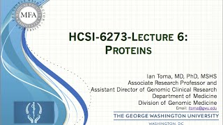 HSCI6273-Lecture 6 - Proteins
