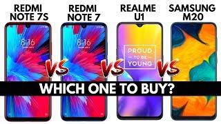 REDMI NOTE 7S vs REDMI NOTE 7 vs REALME U1 vs SAMSUNG M20 | Quick Comparison | Must Watch | Hindi