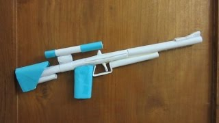 How to Make a Paper Sniper Rifle that shoots Rubber Band - Easy paper gun Tutorial