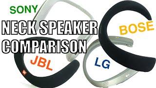 Ultimate Neck Speaker Comparison :  Bose vs JBL vs Sony vs LG