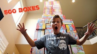 WORLD'S TALLEST Cereal Box TOWER!! 500 Cereal Boxes