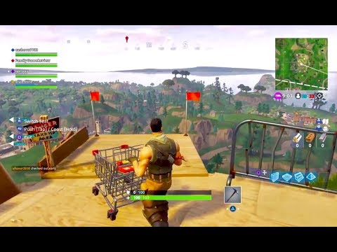 New Fortnite Shopping Cart Ramp Mountain Gameplay Live Broadcast Family Game Review