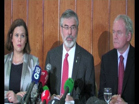 Gerry Adams speaks to Supporters and the Media