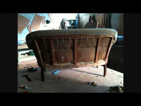 restauro imbottitura e rifacimento tappezzeria divano anni 30.wmv