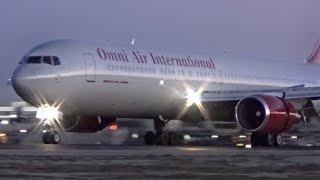 Omni Air Boeing 767-33A(ER) Arriving Runway 33 at BUR (At Sunset)