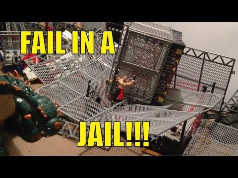 GTS WRESTLING: Fail in a Jail PPV! WWE Mattel figure matches animation action event!