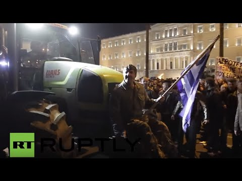 Greece: Tractors roll across Syntagma Square as farmers protest pension reforms