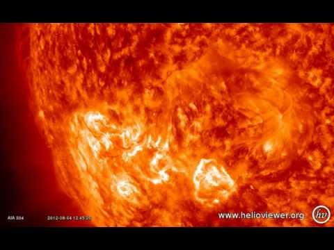 C3.5 class solar flare - Eruption at South-East of the Sun, with CME (August 4, 2012) - Video Vax