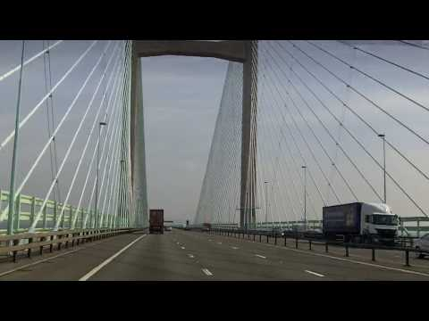Driving over Severn Bridge to Bristol