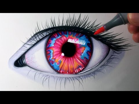 Drawing an Opal Coloured Eye - Time Lapse