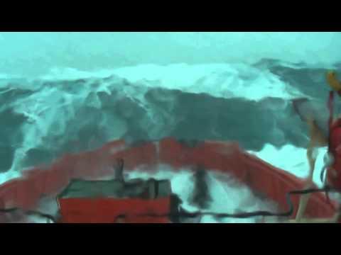 Огромная волна накрывает корабль