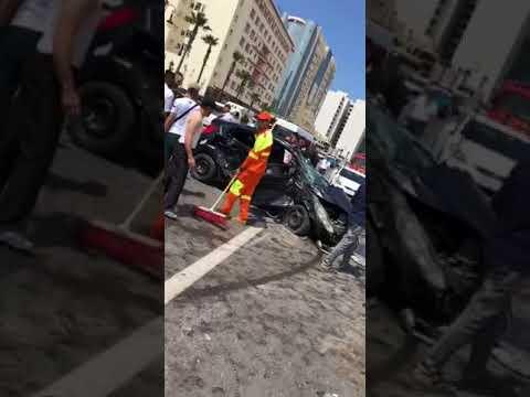"""فيديو حادثة سير مروعة """"بقنطرة الموظفين """" بطنجة"""