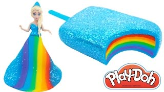 Play Doh Frozen! Make Rainbow Glitter Ice Cream & Elsa Dress with Play Dough Clay * RainbowLearning