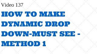 Learn Excel -Video 137 -Dynamic Drop Down Data Validation