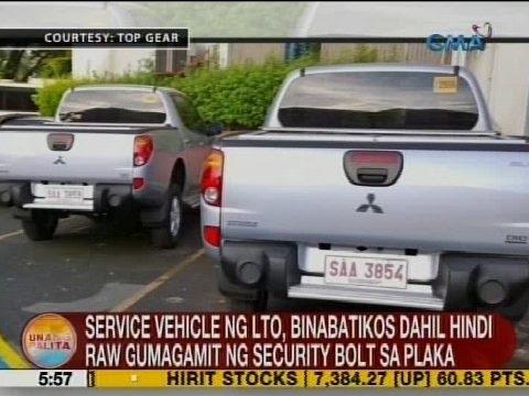 UB: Service vehicle ng LTO, di umano gumagamit ng security bolt sa plaka