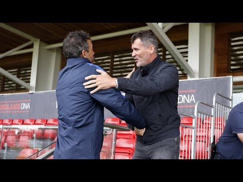 Roy Keane visits FC Barcelona's training session at St. George's Park