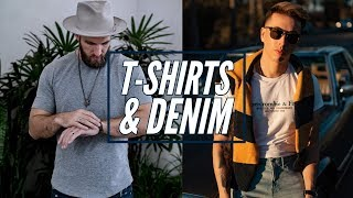 6 Ways to Style Tee Shirts and Jeans || Men's Fashion 2019 || Casual Denim Looks