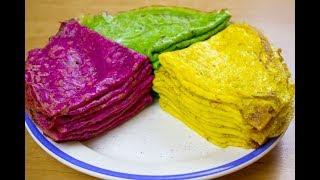 Цветные блинчики. Crepes de colores. Subtitulo en español.