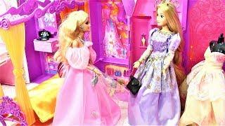 Princess Barbie Castle Dolls morning routine राजकुमारी बार्बी महल वीडियो قلعة الاميرة باربي
