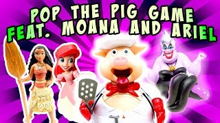 Moana and Ariel Play the Pop the Pig Game w/ Ursula! Learn Numbers & Colors