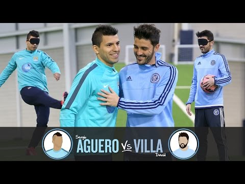 Blindfolded Penalty shoot-out | AGUERO v VILLA | Challenge 1