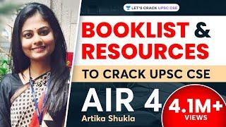 Booklist for IAS/UPSC Preparation by UPSC Topper AIR 4 Artika Shukla