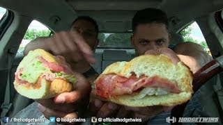Eating Quiznos Classic Itailian Sandwich @hodgetwins