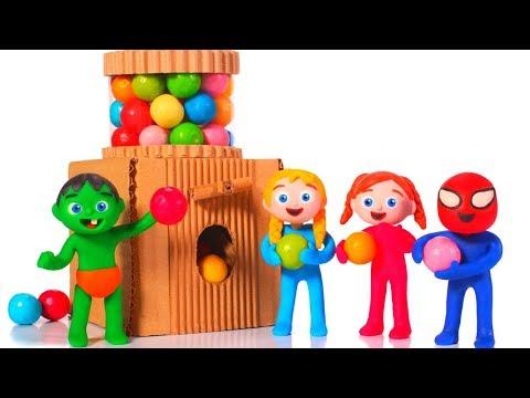 SUPERHERO BABIES MAKE A GUMBALL MACHINE ❤ Superhero Babies Play Doh Cartoons For Kids