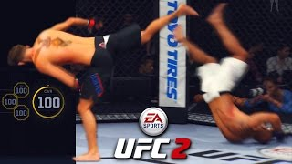 100 Overall Created Fighter - INSANE Kick Made Him Backflip! EA Sports UFC 2 Online Gameplay