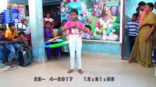 U.Nithiyashree creating a new record Hula Hoop standing hip movement in 12,050 spins