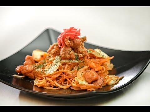 ยากิพาสต้าไก่คาราอะเกะ Karaage Chicken Yaki Pasta : พลพรรคนักปรุง