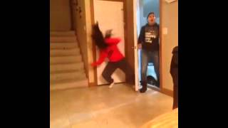 girl dances and hits her head off the door